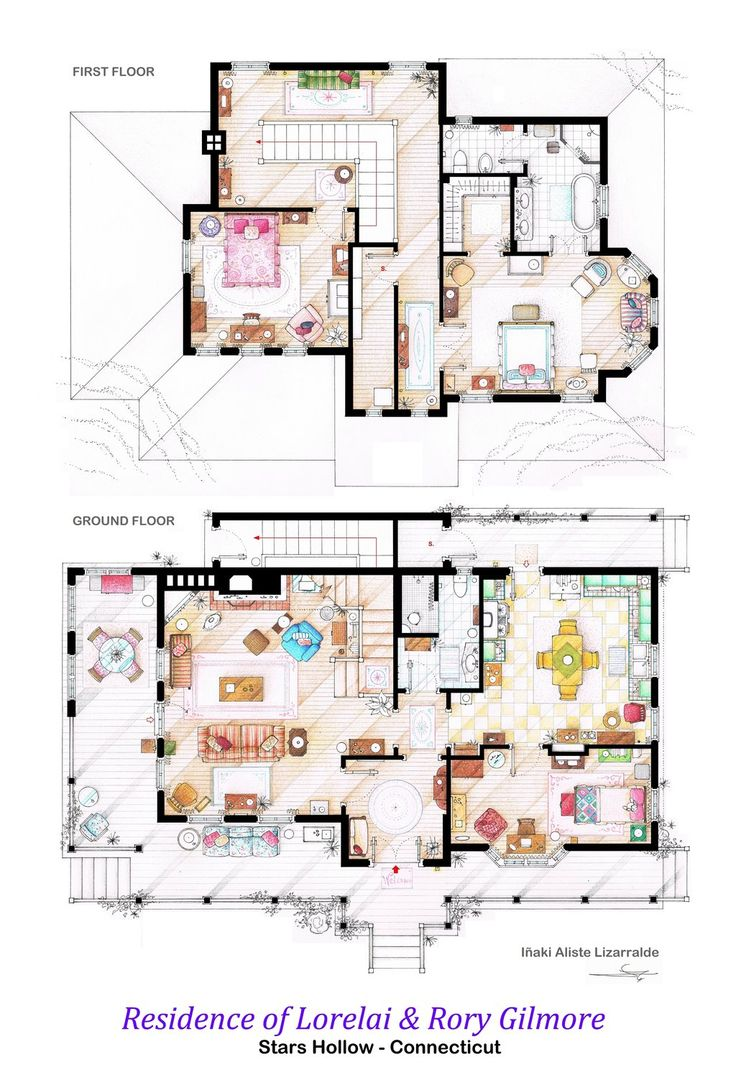 122 best floor plans images on pinterest architecture small house of lorelai and rory gilmore floorplans by nikneuk on deviantart