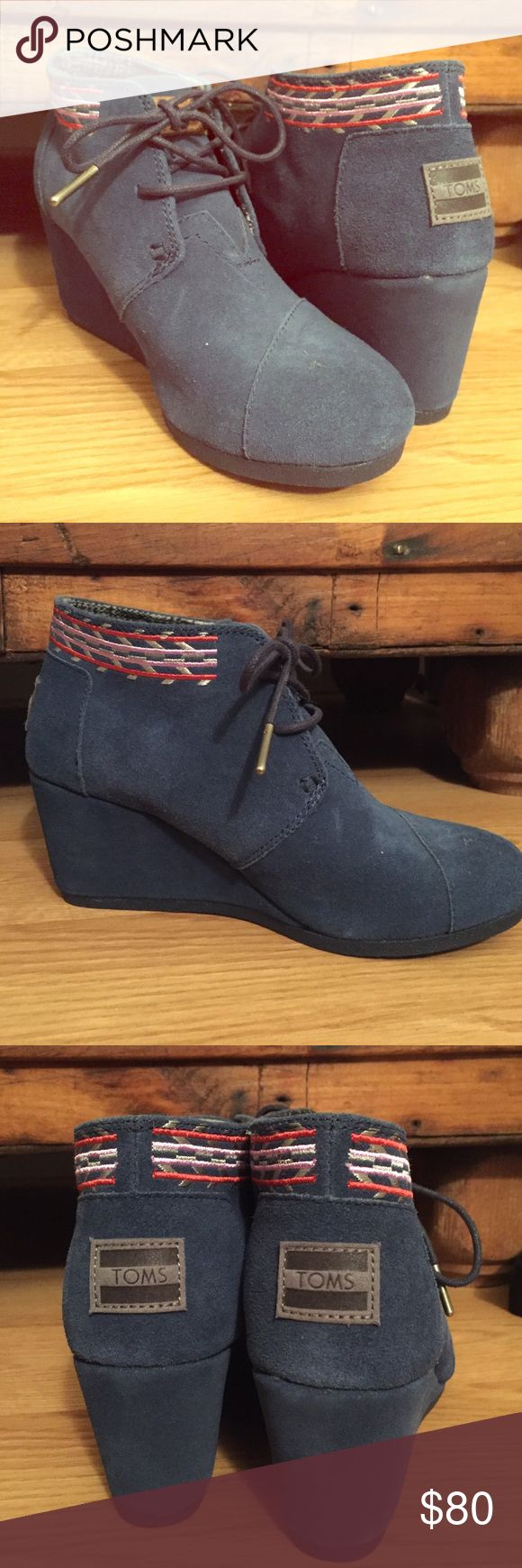 TOMS Booties Blue suede TOMS wedged booties with decorative trim. Brand new, never worn. TOMS Shoes Ankle Boots & Booties