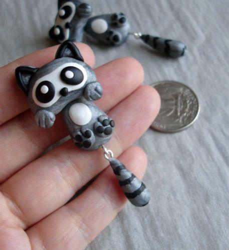 Lemur Handmade polymer clay raccoon Ear Stud, Made to order. $23,00, via Etsy.