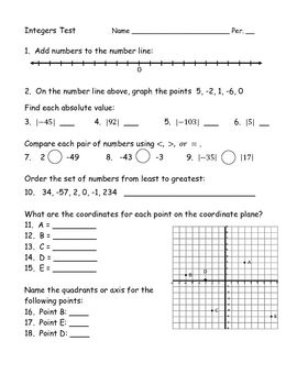 Quiz Worksheet Properties Of Integers Basic Concepts For Gmat Study