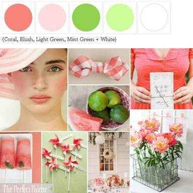Shades of Pink + Green. Lovely for Summer! http://www.theperfectpalette.com/p/color-palettes_17.html