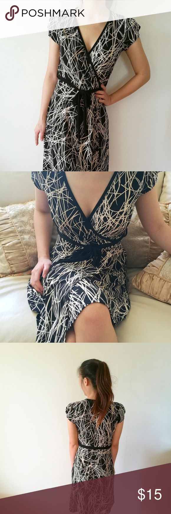 [ Donutz. Inc. ] Black and White Wrap Dress Cute wrap dress great for a day party.   ❤Made in the USA ❤ Model is 5'4 Donutz Inc. Dresses Midi