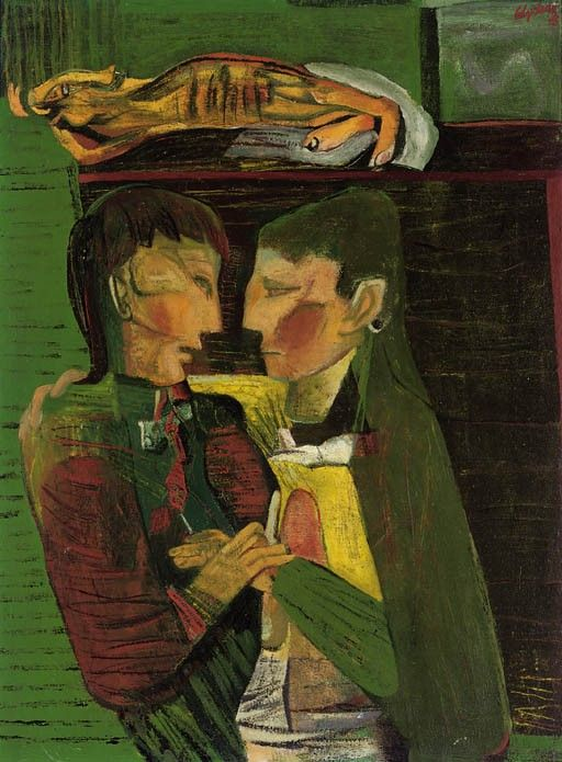 Actors on a Stage, 1945 by Robert Colquhoun (Scottish, 1914-1962)
