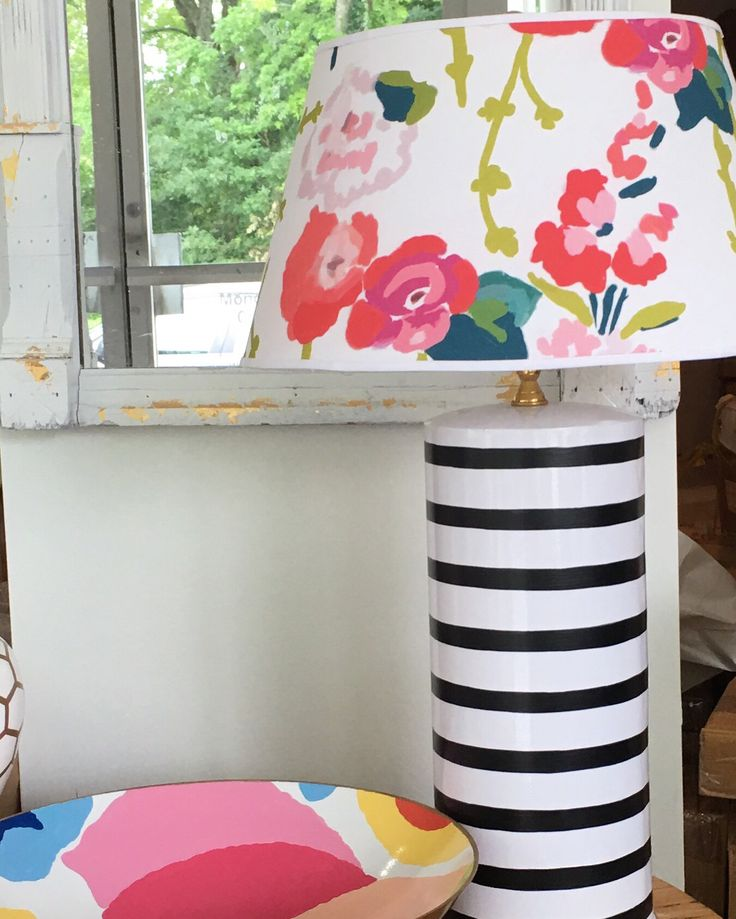 Pen stripe lamp with Chintz shade