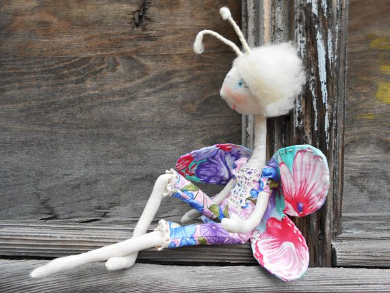 Floral butterfly doll. Natural spring girl doll. by FelThink