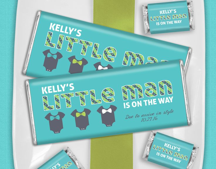 """""""Little Man"""" Themed Baby Shower Ideas: Personalized HERSHEY'S Bars in Teal + Green + White with Bow Tie and Onesie Theme"""