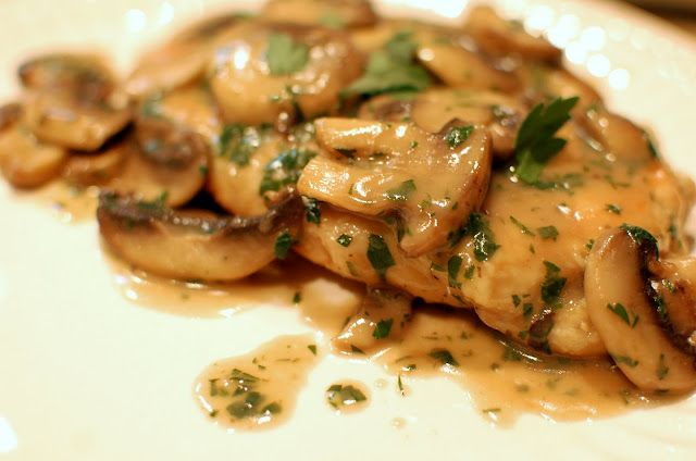Chicken Marsala.  OMGosh!!!  I'm pretty sure will want to marry me all over again after this, seriously delish!  I skipped the pounding part b/c I had thin sliced chicken but I won't next time, it needs it.  MB