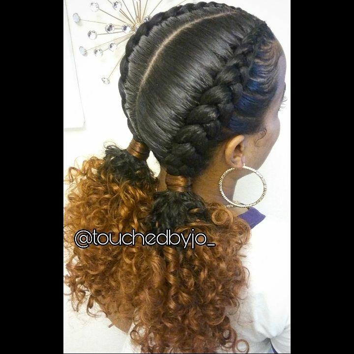 2 Feed In Braids Into Low Ponys Braids With Curls