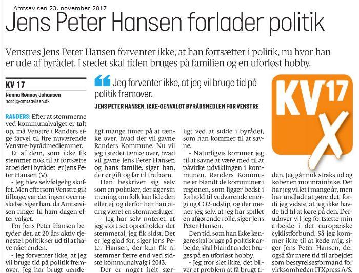 Nogle dage efter interviewet til denne artikel blev jeg bekendt med, at jeg - hvis alt går vel - skal afløse Katrine Fruelund, når hun går på barselsorlov i slutningen af februar. Derfor fortsætter jeg naturligvis mit politiske virke indtil videre.