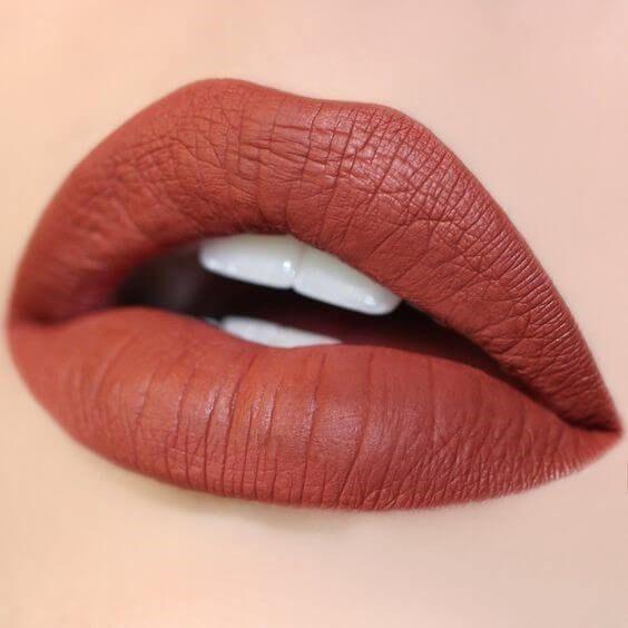7 Liquid Lipsticks to Covet for Fall: lips with Terracotta liquid lipstick #beautylipsticks #lipcolorsfall