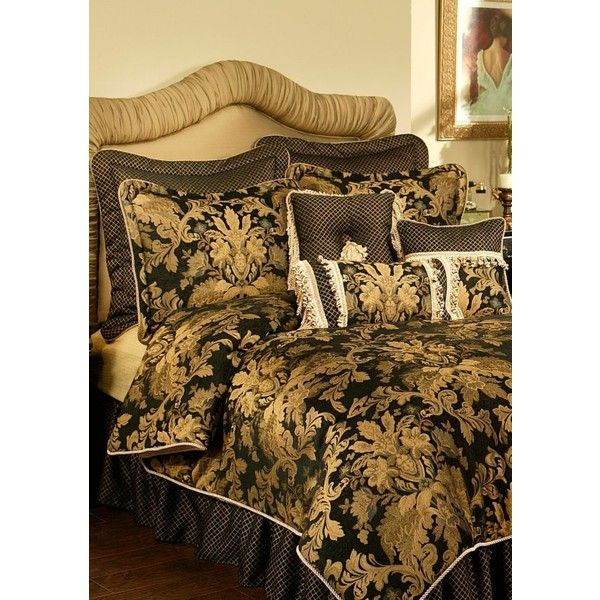 Austin Horn Classics Multi Lismore Comforter Set ($600) ❤ liked on Polyvore featuring home, bed & bath, bedding, comforters, multi, king comforter sets, queen comforter sets, oversized king comforter, king size comforter sets and black king size comforter set