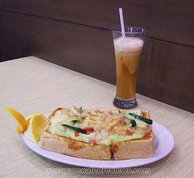 Wasabi Mayo Seafood Pizza Toast and Frozen Honey Calamansi Iced Tea