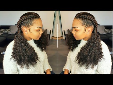 Cornrows - invisible crochet braids ponytail/ feed in braids - YouTube
