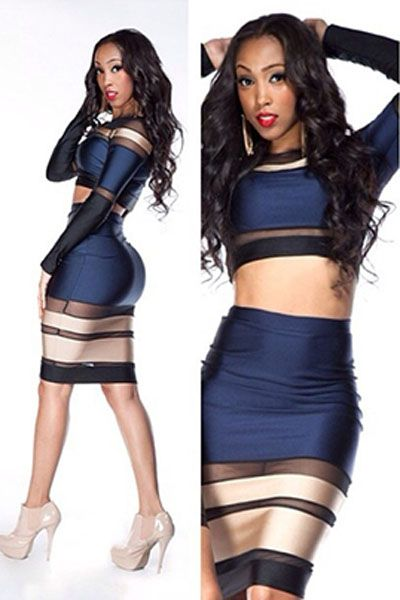 Multi-tone Bandage Long-sleeve Skirt Set