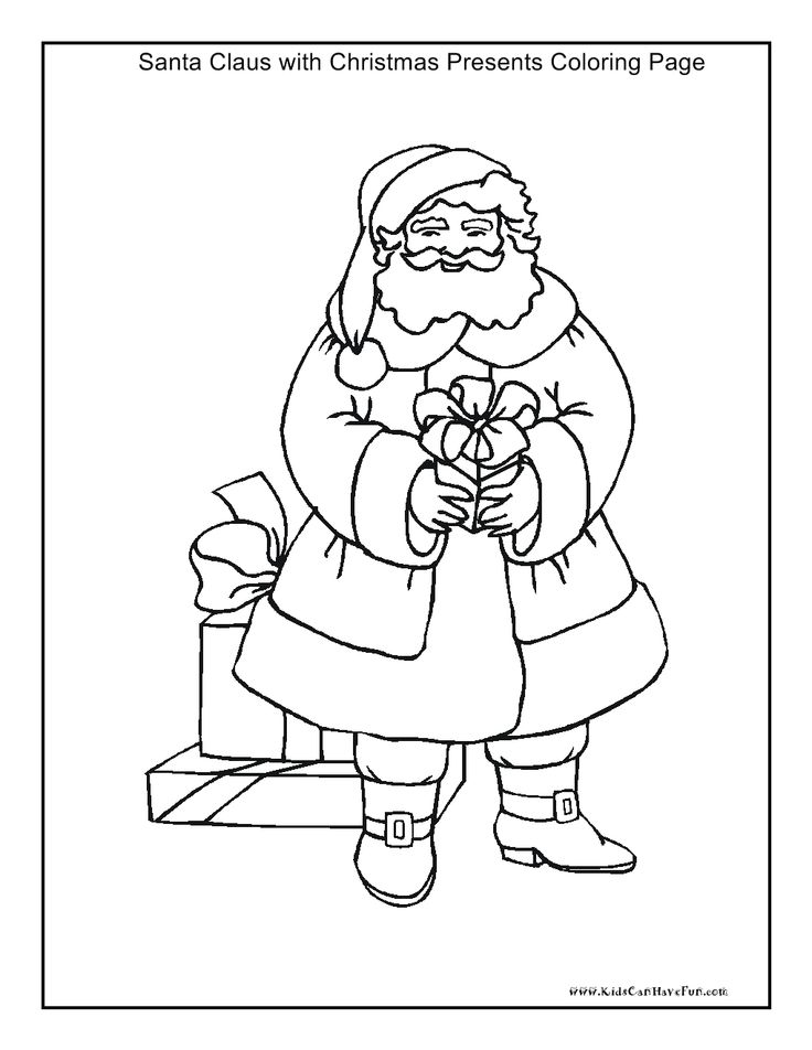 santa claus with presents coloring page httpwwwkidscanhavefuncom