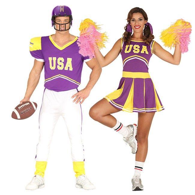 Pareja de Jugador Fútbol Americano y Animadora #parejas #disfraces #carnaval #novedades2017