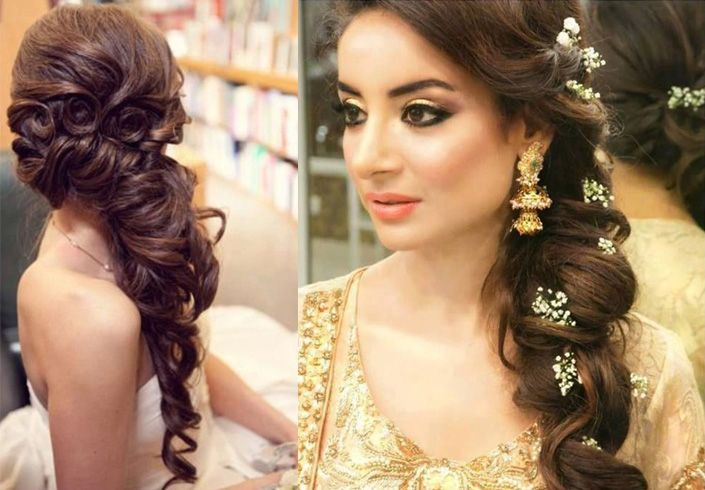 Side Swept Curly Wedding Hairstyle