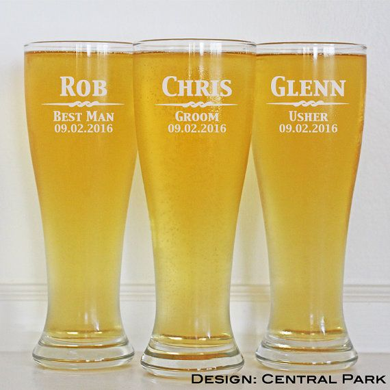 9 Groomsmen Pilsner Glasses 16oz Glasses by EverythingDecorated