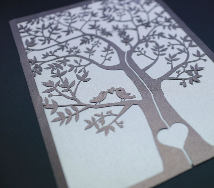 Laser Cut Tree Wedding Invitations: One Sample Laser Cut Tree And Love Birds Wedding