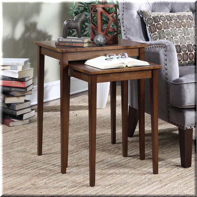 Nesting End Tables 2 Piece Wood Espresso End Tables Living Room Furniture  | eBay