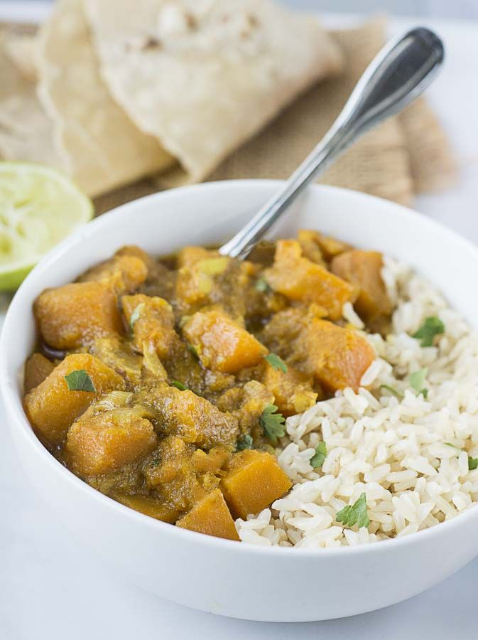 Butternut Squash Coconut Curry is one of the easiest, quickest and most tasty dishes that you can prepare in under 30 minutes.Transform delicate butternut squash into this bold-tasting dish that becomes a culinary masterpiece in minutes. It\'s one of those dishes that you can take to a potluck and there won\'t be any leftovers. I love to serve it with rice or in a gluten-free wrap with lettuce, tomato. and cucumber.Butternut squash keeps for pretty long on my counter, so I always love to…