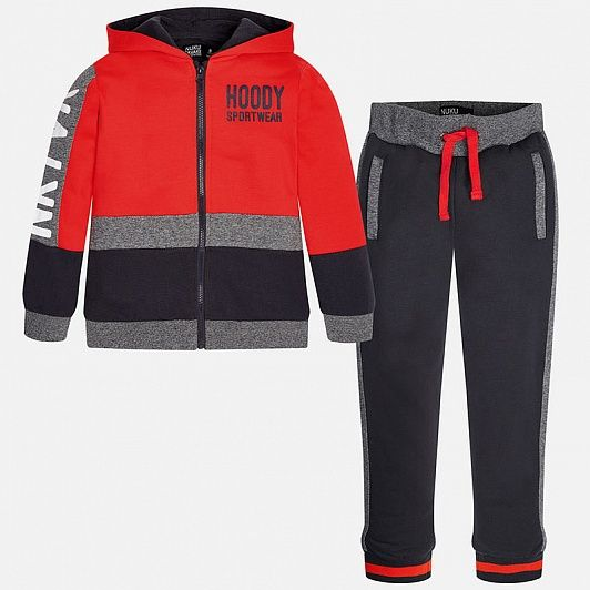 Спортивный костюм для мальчиков Mayoral 7.806/58  темно серый красный