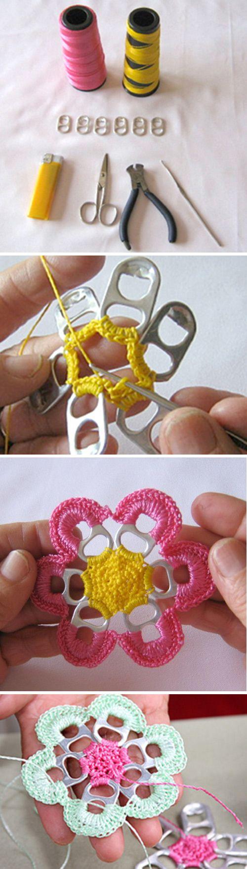 Pull Tabs Crochet Flowers