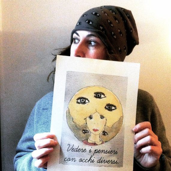 Eyes print, third eyes, whimsical woman,  Looking at Thoughts with Different eyes