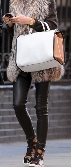 leather leggins + faux fur vest