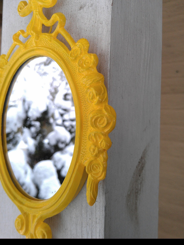 Decorative Wall Mirror in Vintage Lemon Yellow Frame - Revived Vintage. $18.00, via Etsy.