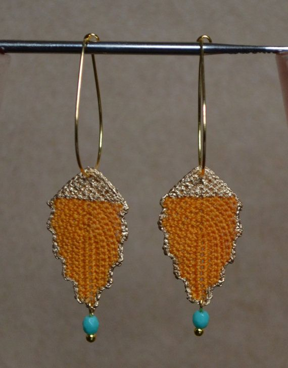 Gold Vintage Inspired Irish Crochet Leaf Dangle Earrings w Turquoise Bead on…