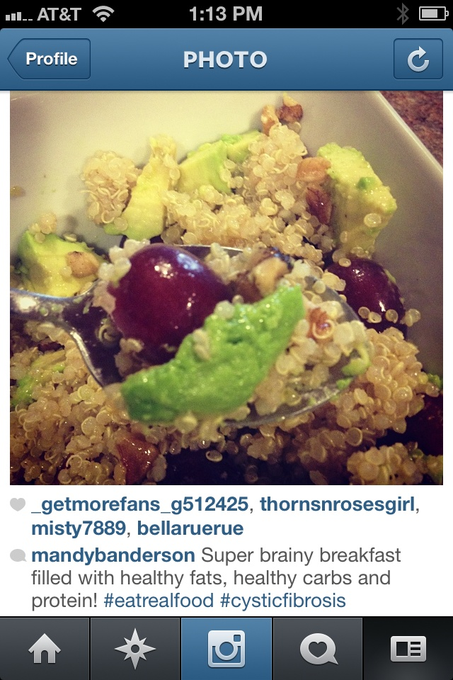 Brainy Breakfast - quinoa, avocado, walnuts, grapes, and olive oil ...