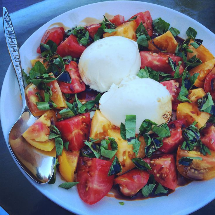 burrata and heirloom caprese with fig-walnut balsamic reduction. # ...