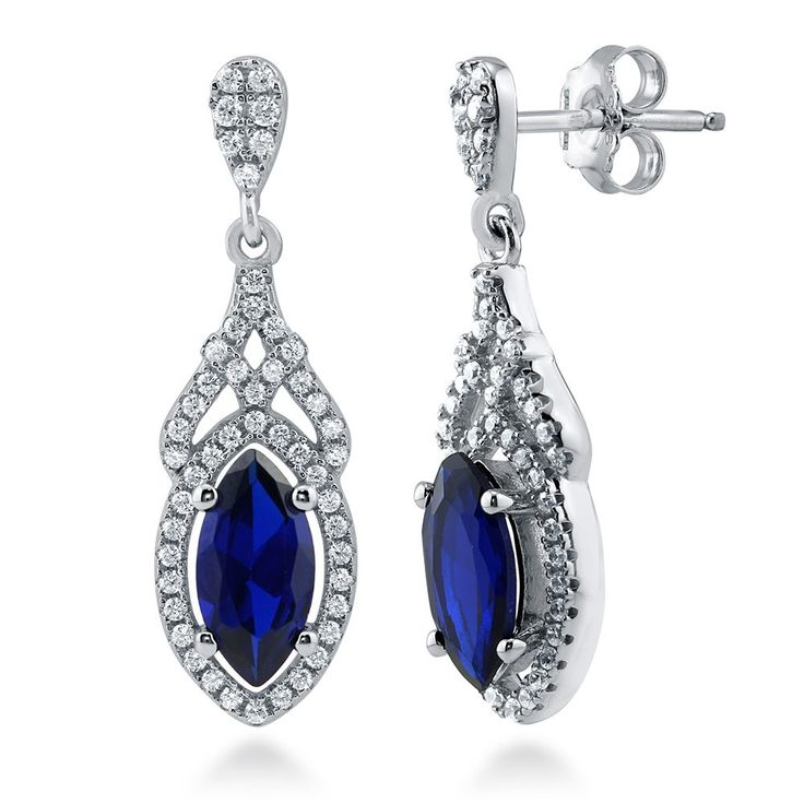 Newshe Vintage Created Blue Sapphire White Cz 925 Sterling Silver Gemstone Dangle Drop Earrings