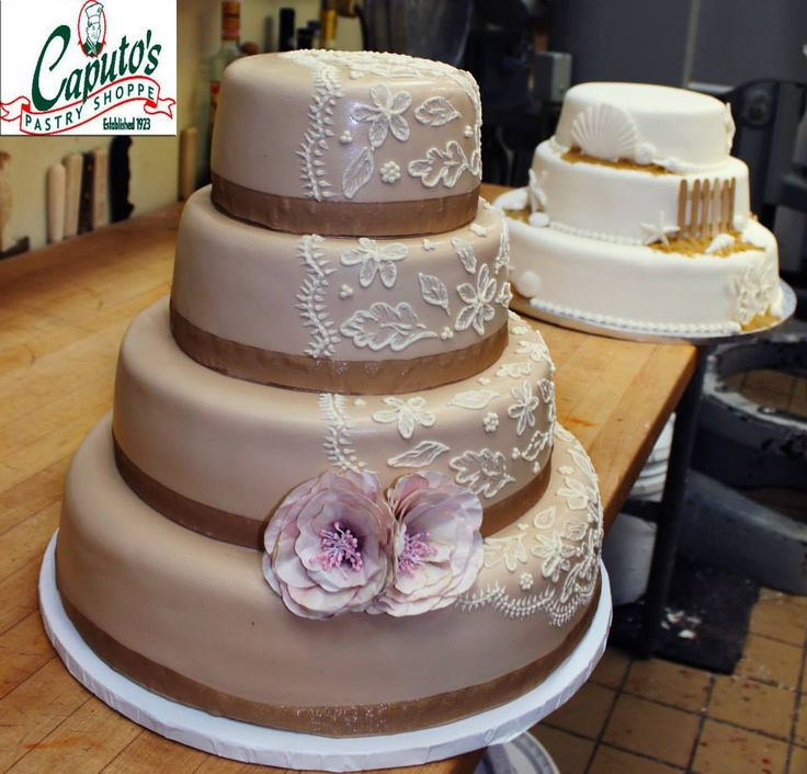 wedding cakes northern new jersey%0A A Lace Wedding Cake made by Caputo u    s Italian Bakery in Long Branch  NJ LIKE  us