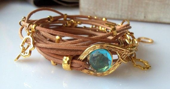 Love, love, love: Evil Eyes, Leather Wrap Bracelets, Evil Eye Bracelet, Gold Evil, Nature Leather, Hamsa Charms, Hamsa Bracelets, Leather Wraps Bracelets, Leather Bracelets