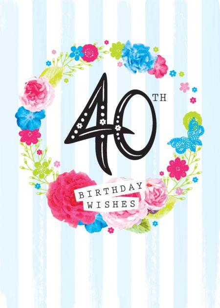 Debbie Edwards - Age Birthday Milestone Big Number 40 40th In Floral Wreath
