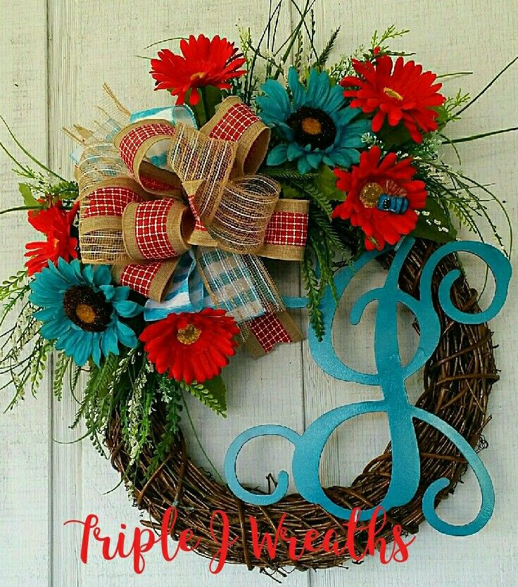 Initial wreath Grapevine wreath Turquoise wreath Teal wreath
