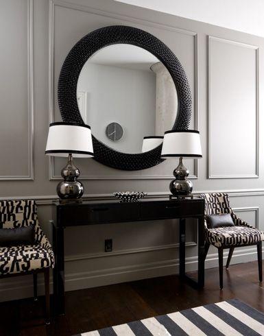 Round black frame mirror