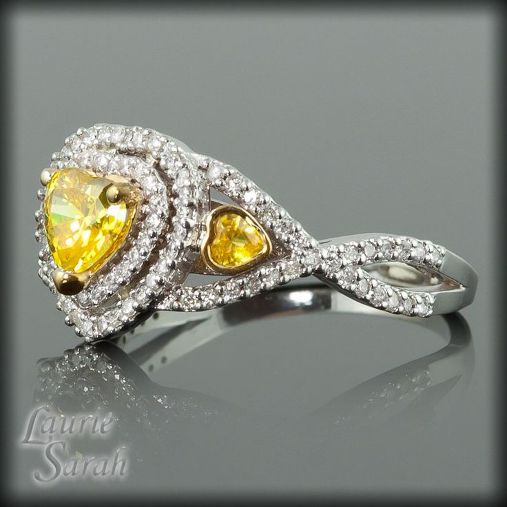 Yellow Sapphire Ring, Heart Shaped Yellow Sapphire and Diamond Double Halo Engagement Ring with Twisted Shank - LS1878 by LaurieSarahDesigns on Etsy https://www.etsy.com/listing/92152794/yellow-sapphire-ring-heart-shaped-yellow