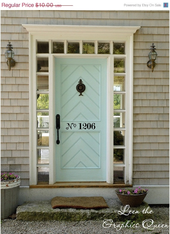 I am in love with the door and the numbers!! I can always dream right :) ON SALE Street Number Door Decal. $8.00, via Etsy.