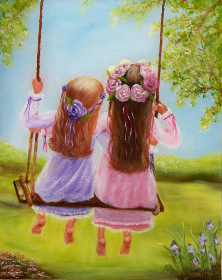 Sisters and Friends Forever Painting  - Sisters and Friends Forever Fine Art Print