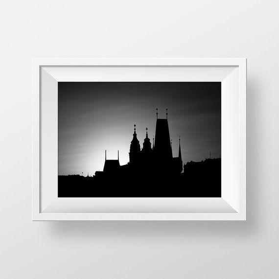 Prague Sunset / Fine art photography / Black and white travel photography / Wall art print / Prague Skyline