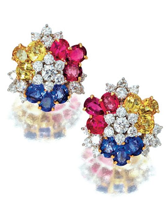 PAIR OF SAPPHIRE AND DIAMOND EARRINGS, TIFFANY & CO. Each cluster of flower head design, set with brilliant-cut diamonds, highlighted with oval pink, yellow and blue sapphires, mounted in yellow gold and platinum, signed Tiffany & Co.