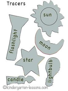 Free tracers for light sources theme.   http://www.kindergarten-lessons.com/science-activities-for-kids.html