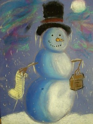 "Art based on the book ""Snowmen at Night."" I think we'll be picking up a new wintertime book, because this project looks like SO much fun!"