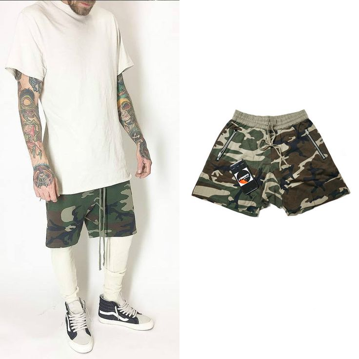 FEAR OF GOD High Street Men Shorts Justin Bieber Casual Elasticity Saggy trousers Men FOG Camouflage Shorts Men Loose Teousers