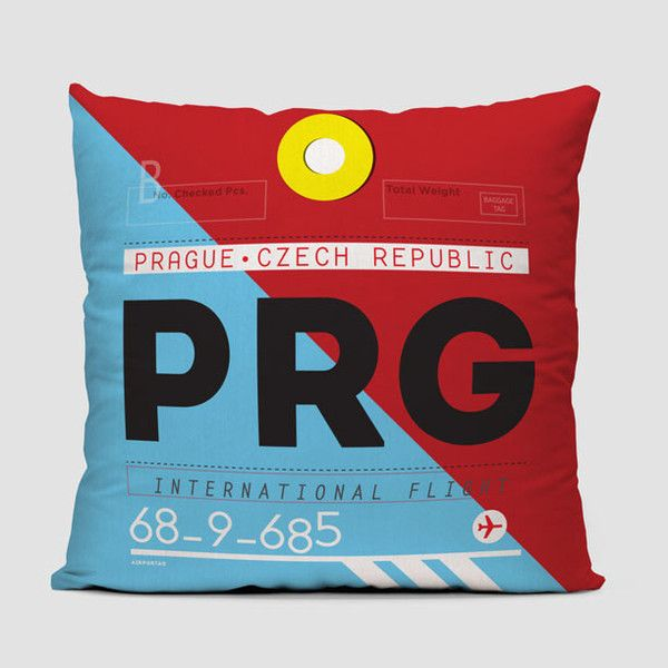 Throw pillow inspired on vintage travel luggage tags from Václav Havel Airport Prague. IATA code PRG.