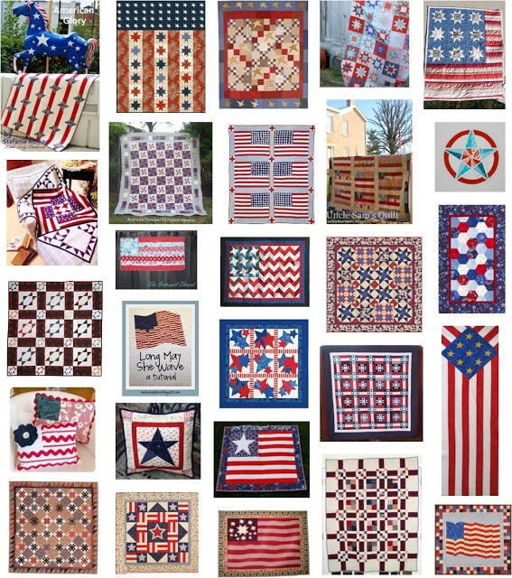 30 free patterns for patriotic quilts, wall hangings, pillows and table runners !