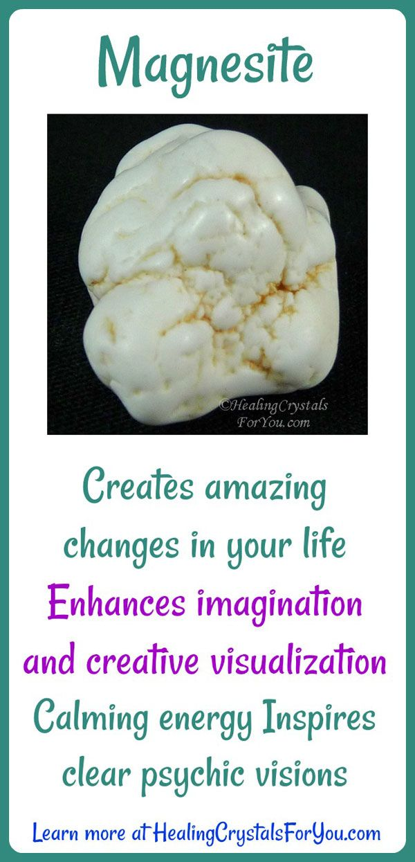Crystal Properties and Meanings Magnesite: #Magnesite inspires #clear psychic visions. Enhances #creativevisualization and #imagination. Calming vibration that creates #amazingchanges in your life